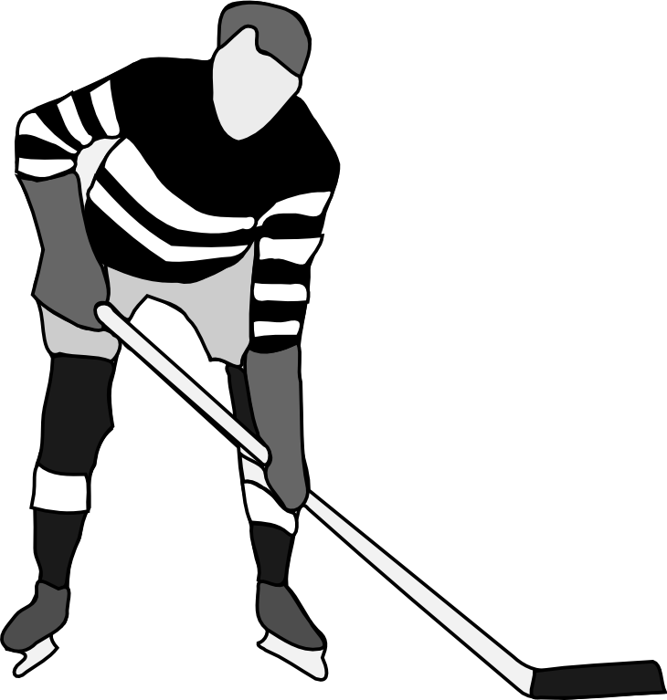 730x767 Hockey black and white clipart kid