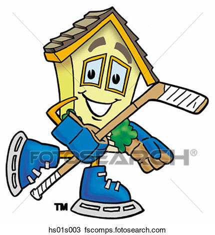 430x470 Clipart of House playing hockey hs01s003