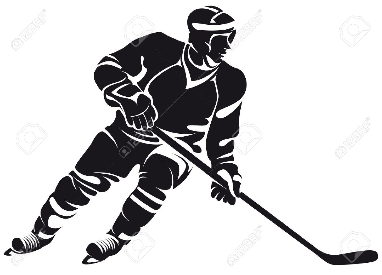 1300x936 Free Hockey Player Silhouette Clipart