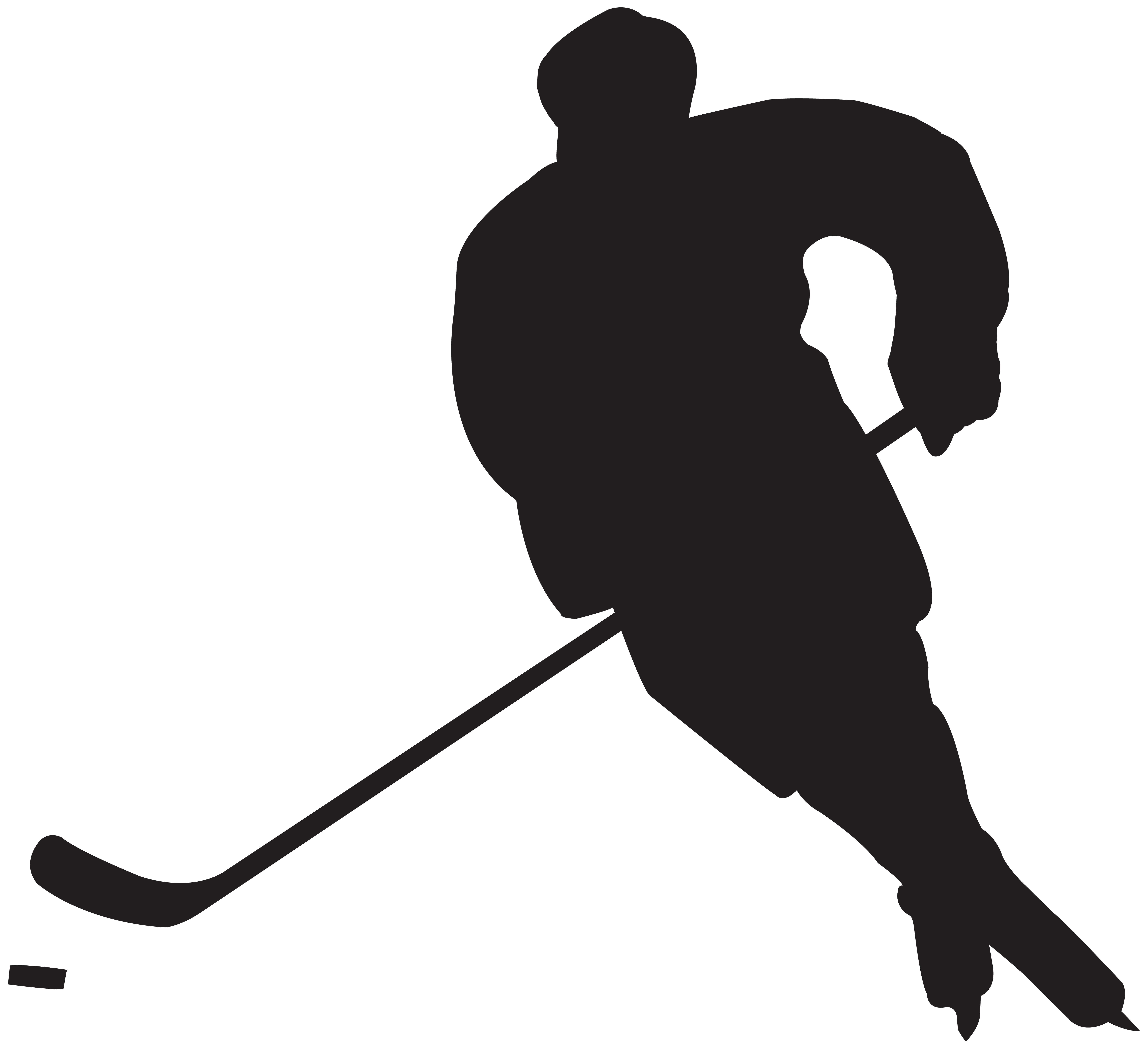 8000x7307 Silhouette Clipart Hockey