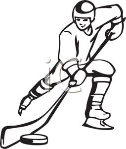 255x300 Black And White Cartoon Of A Hockey Player Going For A Goal