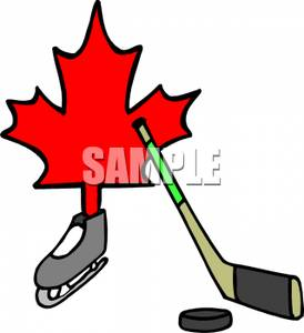 274x300 Free Clipart Image The Canadian Red Leaf And A Hockey Puck And Stick