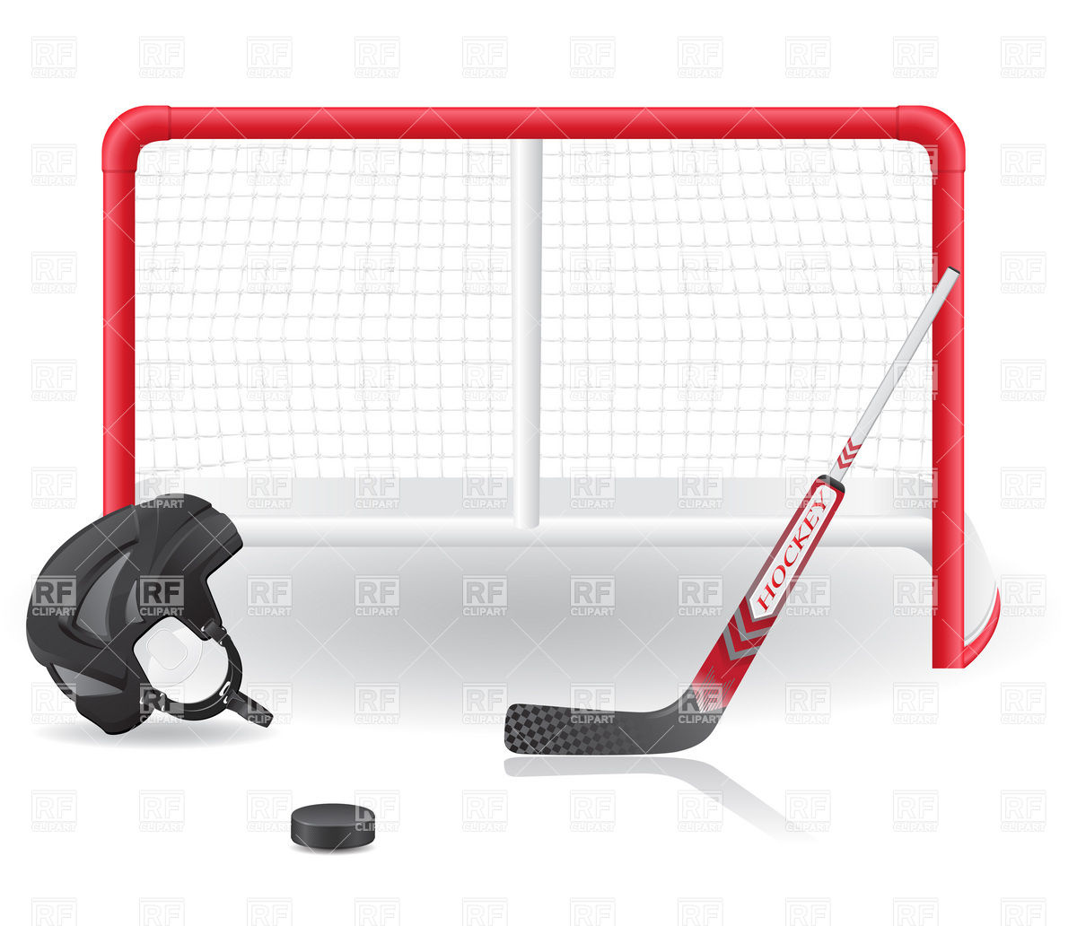 1200x1032 Hockey Goals, Helmet And Stick Royalty Free Vector Clip Art Image