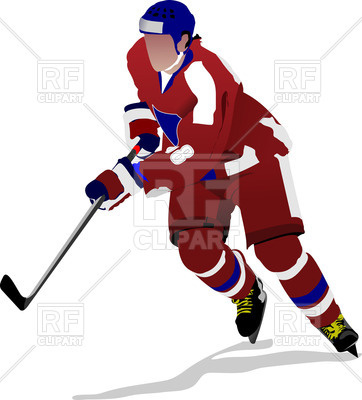 362x400 Ice Hockey Player Forward Royalty Free Vector Clip Art Image