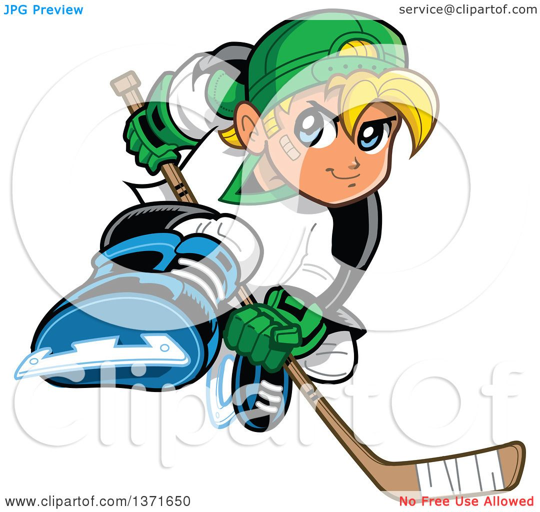 1080x1024 Clipart Of A Tough Blond White Boy Playing Hockey