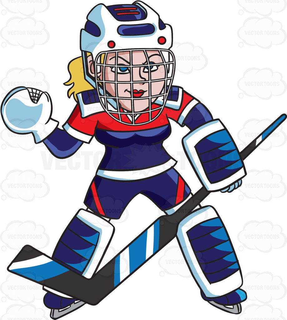 919x1024 A Female Hockey Goaltender Prepares To Save A Goal Cartoon Clipart