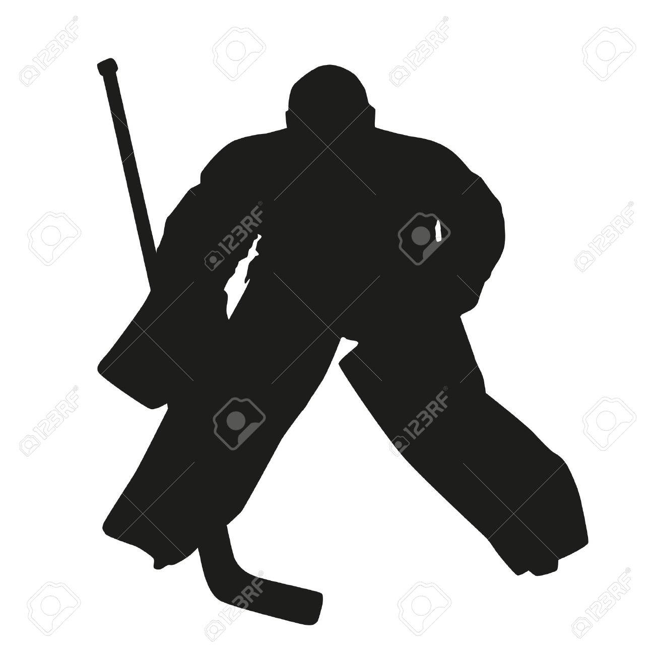 1300x1300 Hockey Goalie. Vector Silhouette Royalty Free Cliparts, Vectors