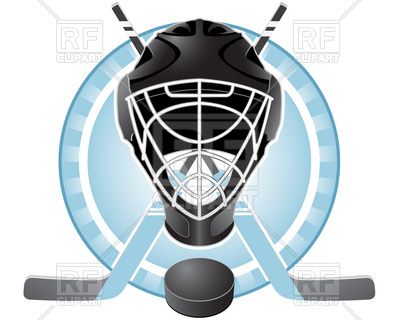 400x320 Emblem With Goaltender Helmet, Hockey Sticks And Puck Royalty Free