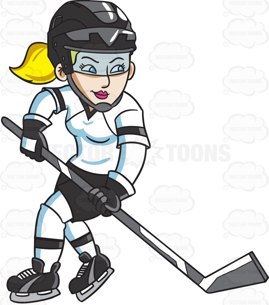 903x1024 A Female Hockey Player Swirls Into The Ice Rink Cartoon Clipart