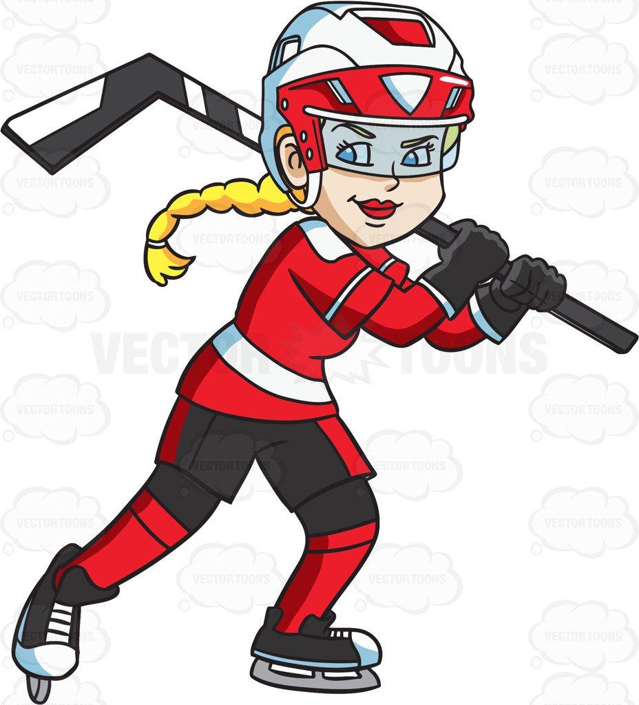 928x1024 A Happy Female Hockey Player Cartoon Clipart