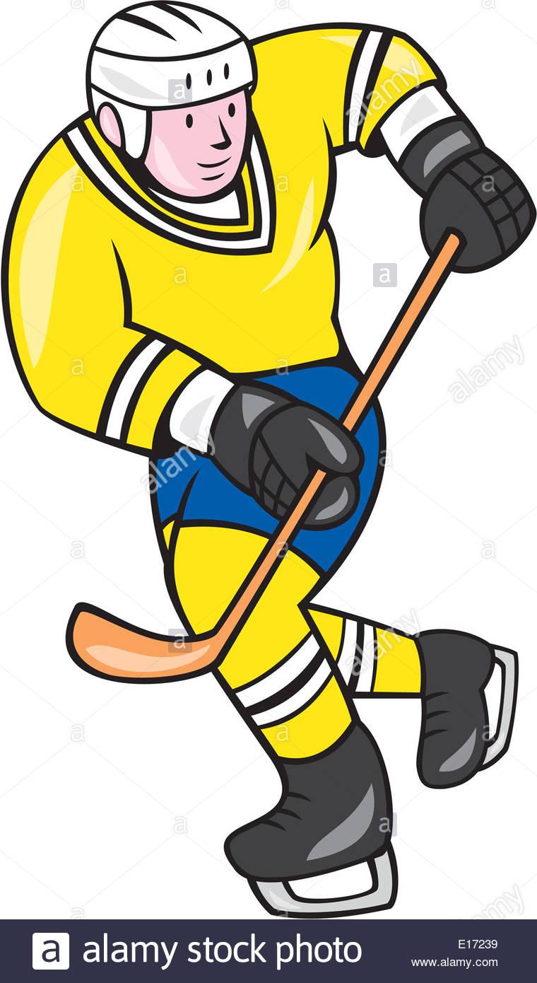 760x1390 Illustration Of An Ice Hockey Player Holding Hockey Stick