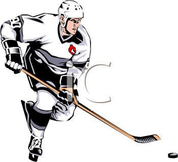 350x319 Clip Art Illustration Of An Ice Hockey Player Skating With The Puck