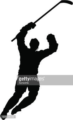 236x389 Clipart Of Hockey Player Silhouette. 373869 Royalty Free