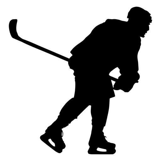 512x512 Hockey Player Skating Silhouette