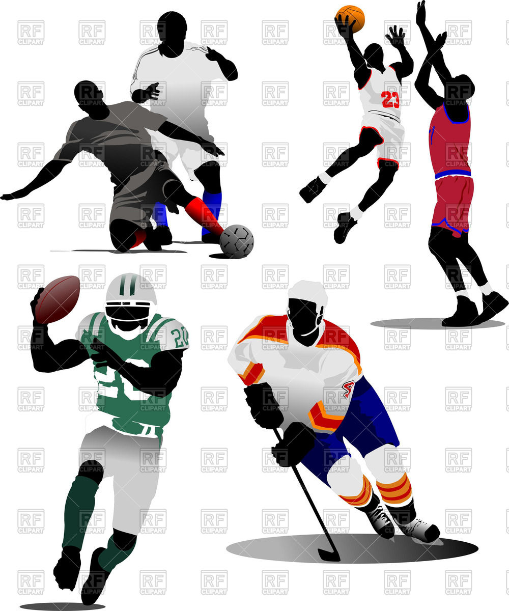 1000x1200 Colorful Silhouettes Of Soccer Players, Ice Hockey Player