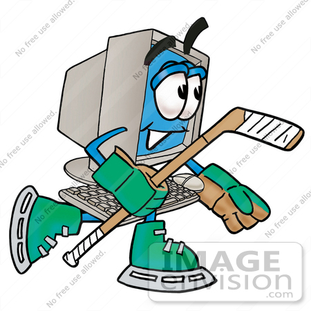 450x450 Clip Art Graphic Of A Desktop Computer Cartoon Character Playing