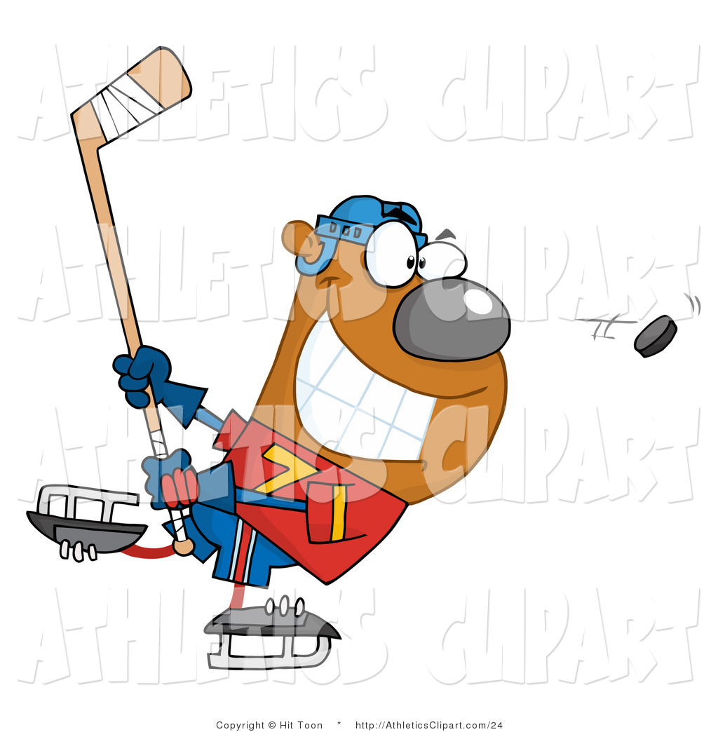 1024x1044 Clip Art Of A Grinning Bear Playing Ice Hockey And Swining