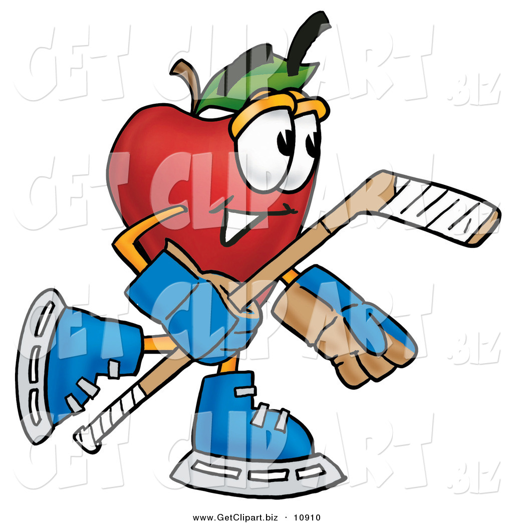 1024x1044 Clip Art Of A Smiling Red Apple Character Mascot Playing Ice