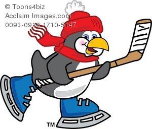 300x256 Clipart Cartoon Penguin Playing Hockey