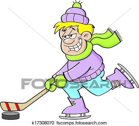 450x410 Clipart Of Cartoon Boy Playing Hockey K17308070