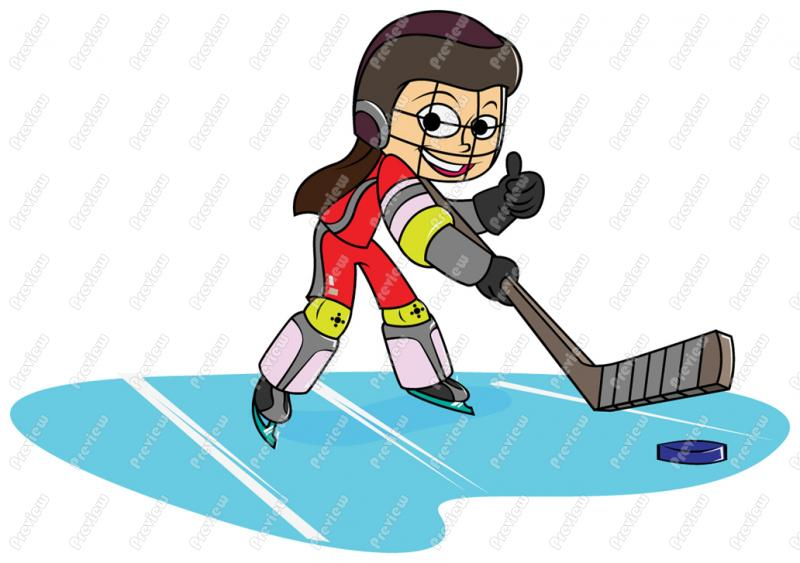 800x563 Girl Child Playing Ice Hockey Clip Art
