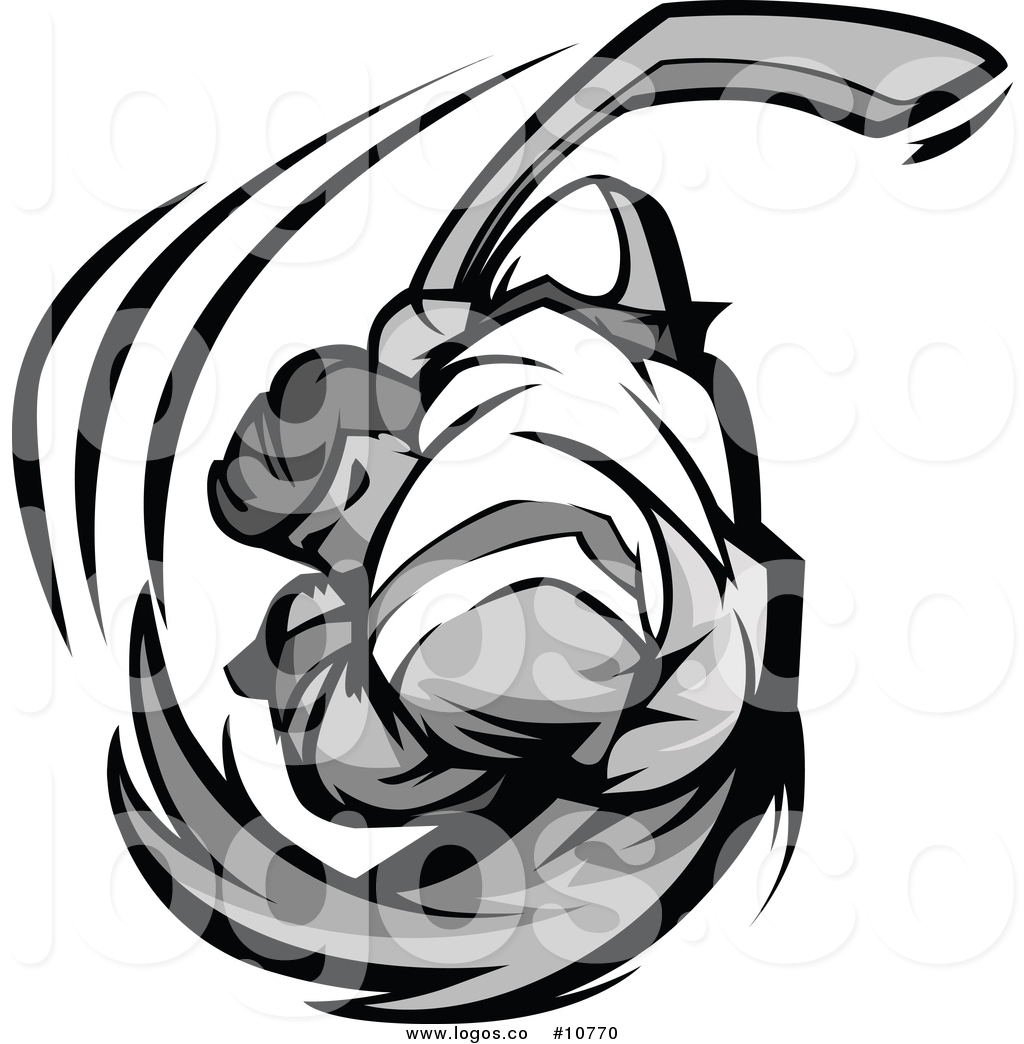 1024x1044 Vector Logo Of A Grayscale Buff Hockey Player Swinging By Chromaco