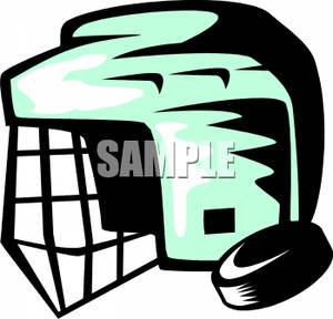 300x288 Free Clipart Image A Hockey Helmet And Puck