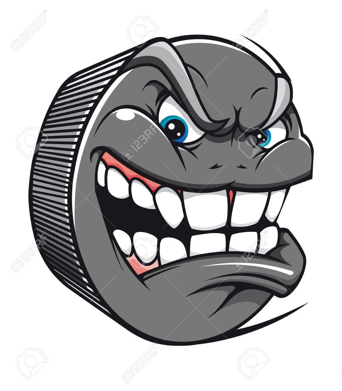 1137x1300 Unique Best Angry Hockey Puck Mascot In Cartoon Style Stock Vector