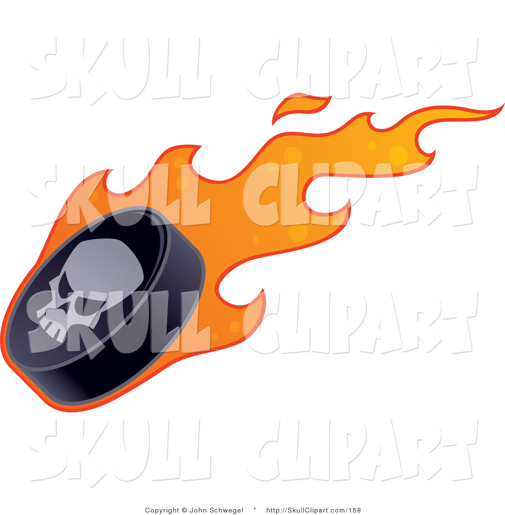 1024x1044 Vector Clip Art Of A Skull On A Black Flaming Hockey Puck By John