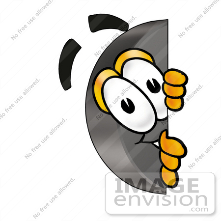 450x450 Clip Art Graphic Of An Ice Hockey Puck Cartoon Character Peeking