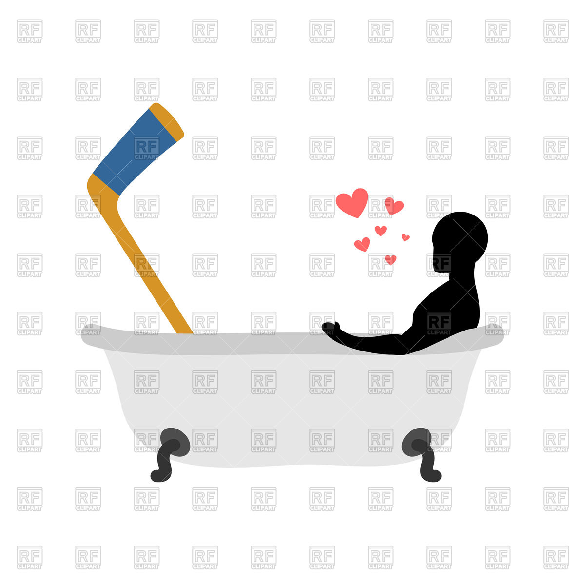 1200x1200 Man And Hockey Stick In Bath Royalty Free Vector Clip Art Image