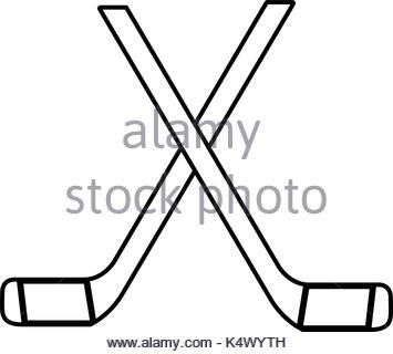 355x320 Crossed Hockey Sticks And Puck Icon, Outline Style Stock Vector
