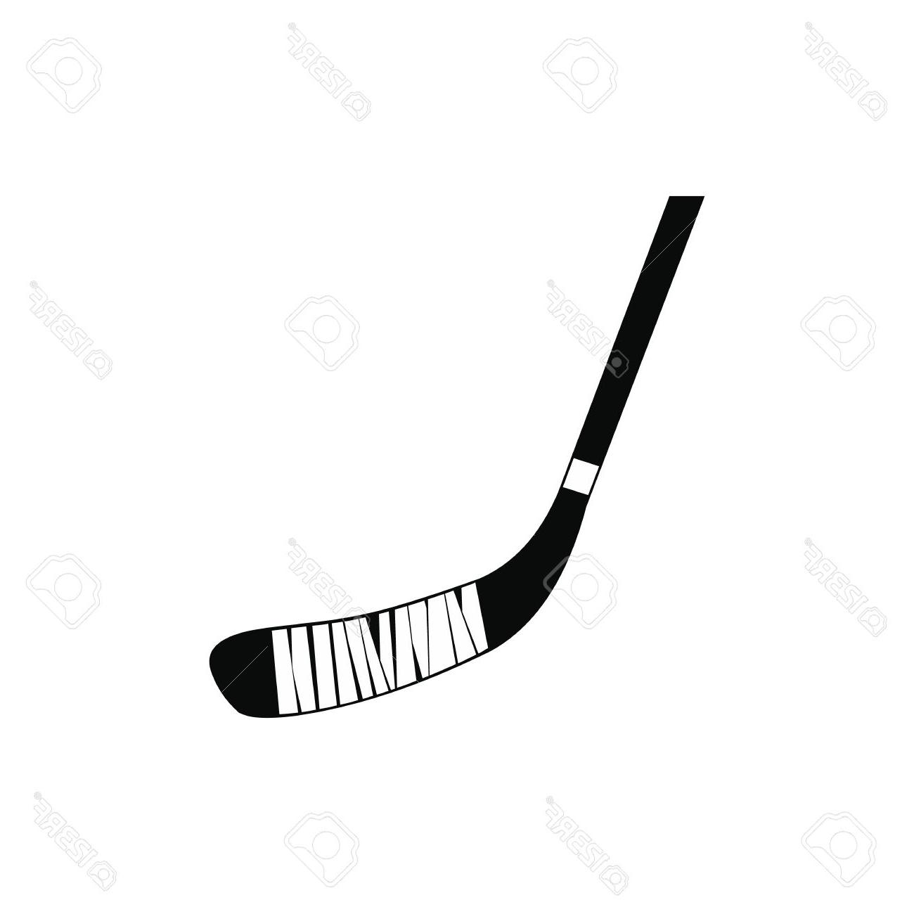 1300x1300 Hockey Stick Black Simple Icon Isolated On White Background Stock
