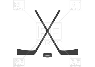 400x283 Hockey Sticks And Puck Grey Minimal Logo Design Royalty Free