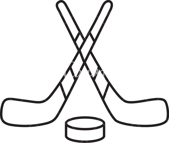 550x466 Hockey Sticks And Puck Icon