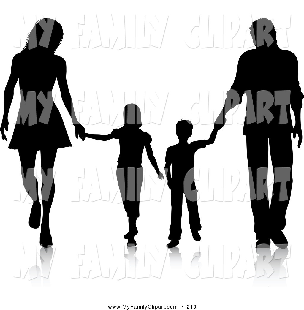 1024x1044 Clip Art Of A Black Silhouetted Family Of Four Walking Together