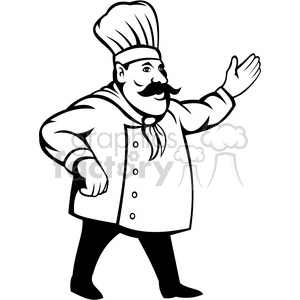300x300 Royalty Free Chef Holding Out His Hand Black White Clip Art 388345
