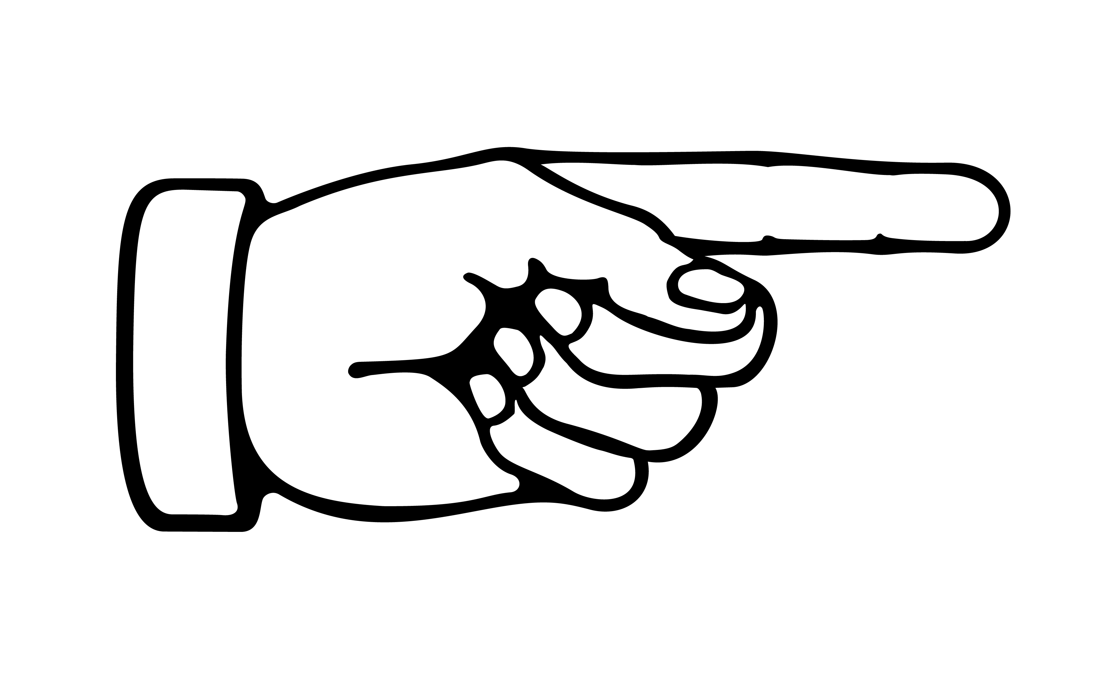 3658x2220 Black And White Hand Pointing Clipart