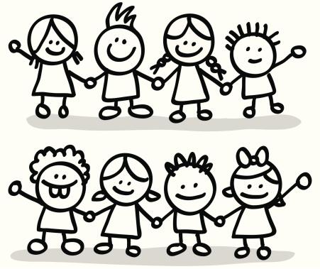 451x379 Children Holding Hands Clip Art In Black And White 101 Clip Art