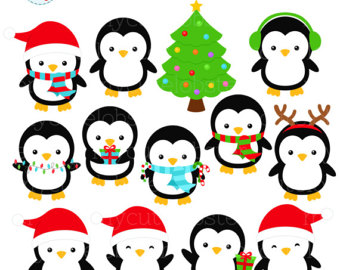 340x270 Cute Penguin Clipart Set Christmas Penguins Clipart Images