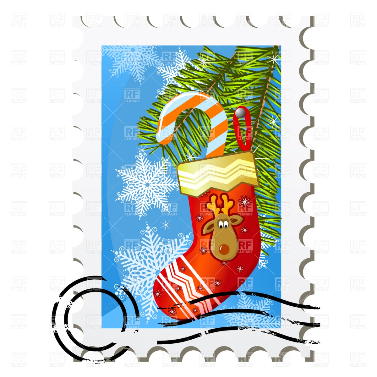 1200x1200 Christmas Stamp Royalty Free Vector Clip Art Image