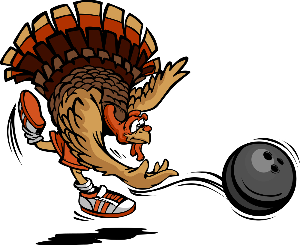 1000x817 Bowling Thanksgiving Holiday Turkey Cartoon Vector Illustration