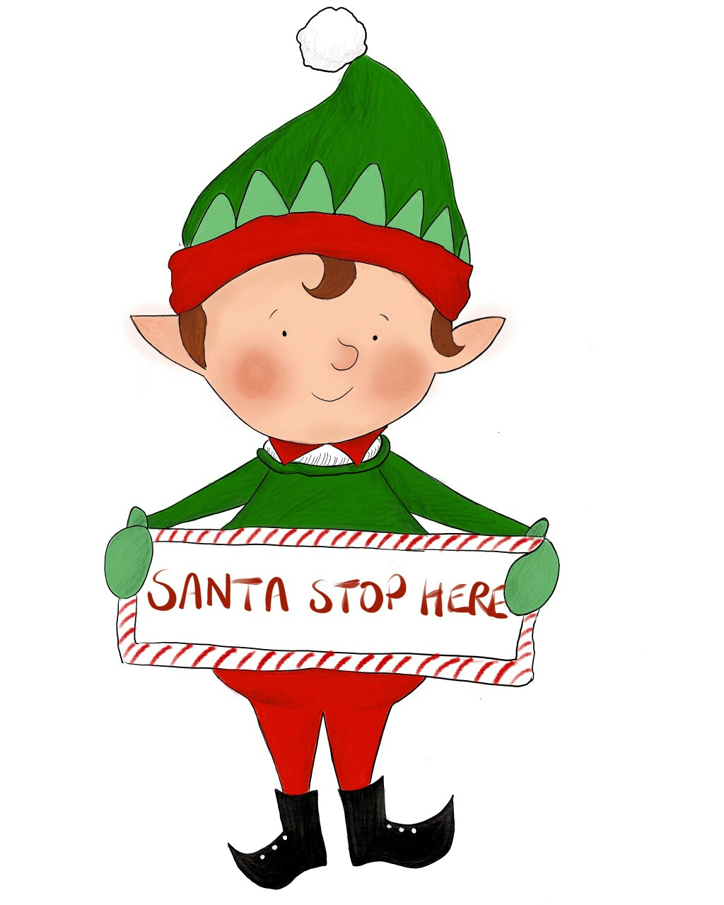 1024x1280 Christmas Elf Illustration Procreate Ipad Pro Art By Gemma Louise
