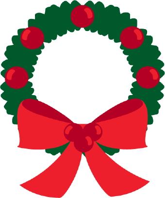 340x408 Holiday wreath clip art image