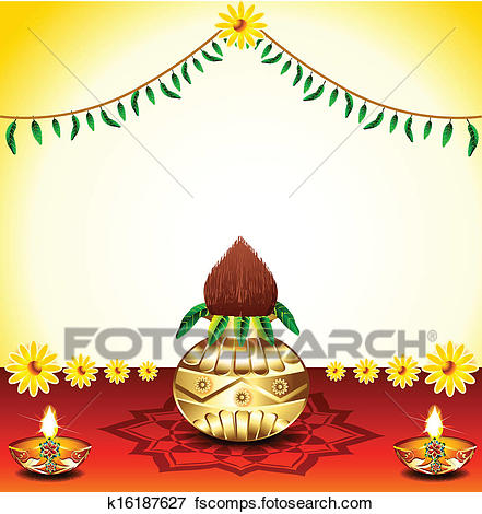 441x470 Clip Art Of Festival Background With Kalash K16187627