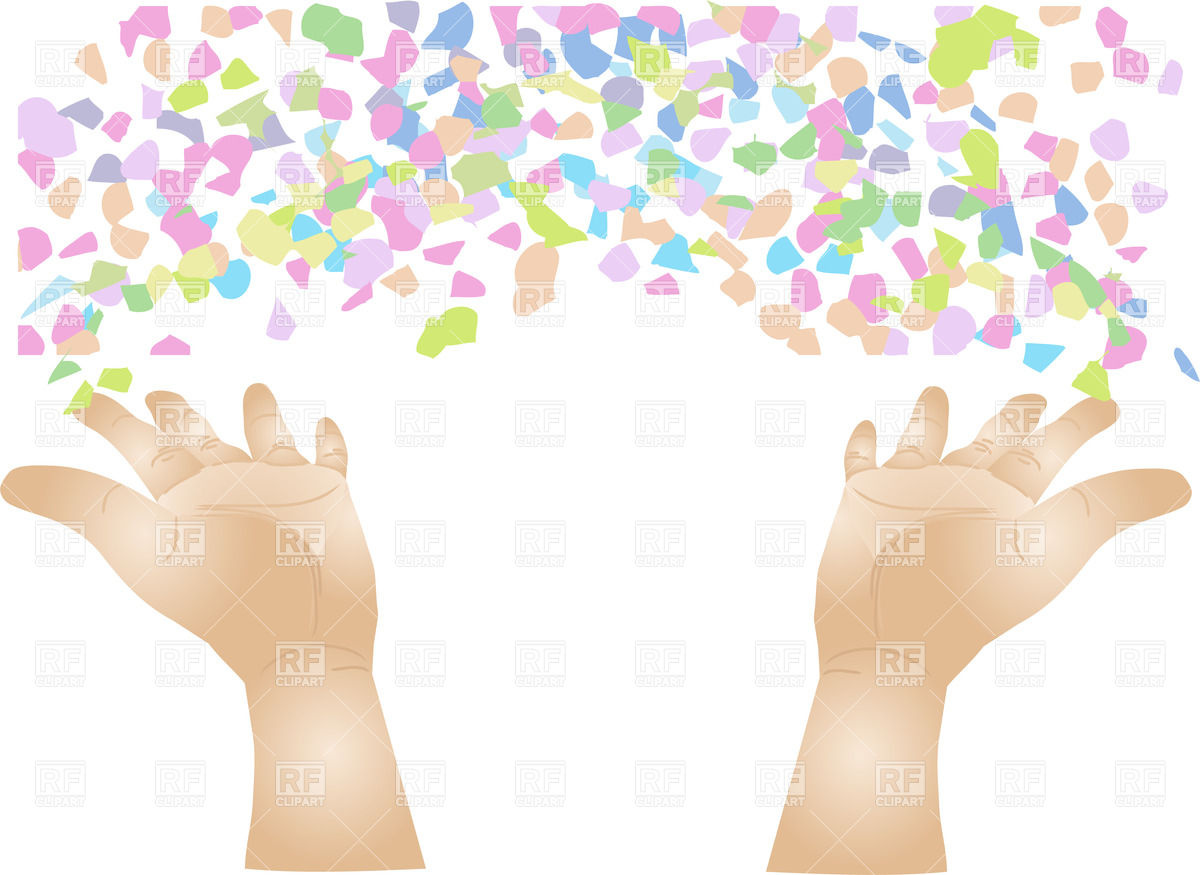 1200x875 Hands Scattering Confetti Royalty Free Vector Clip Art Image