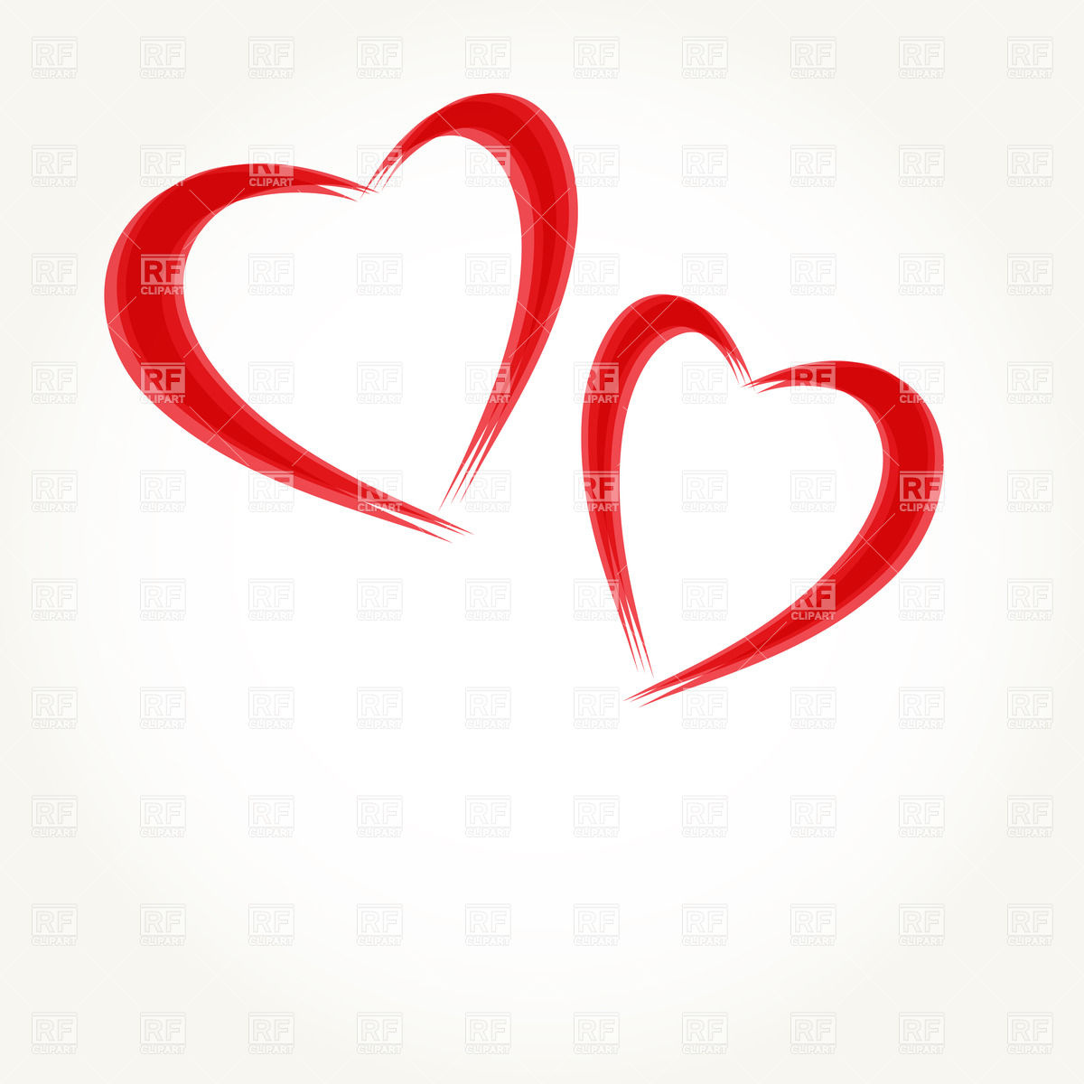 1200x1200 Two Stylized Hearts Royalty Free Vector Clip Art Image
