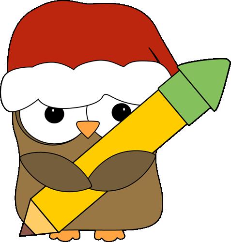 477x500 Christmas Owl Holding A Pencil Clip Art