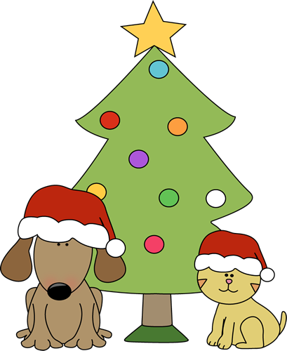 409x500 Christmas Dog And Cat In Front Of Tree Clip Art