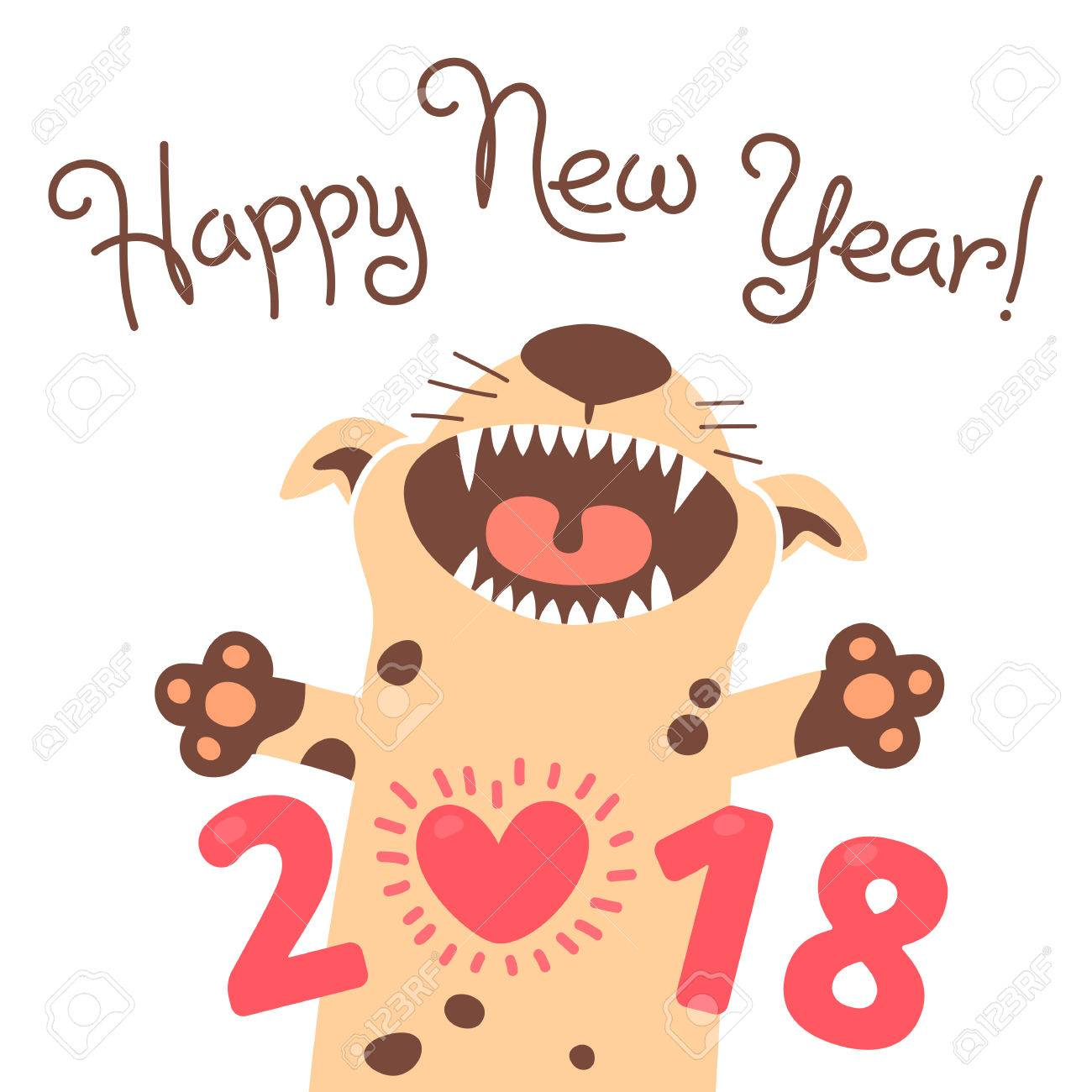 1300x1300 Happy 2018 New Year Card. Funny Puppy Congratulates On Holiday